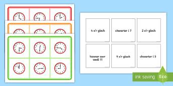 Bingo Amser - Amser, Cyfnod Allweddol 2, CA2, Cyfnod Sylfaen, Mathemateg, time, amser, rhifedd, numeracy, dyddiol,