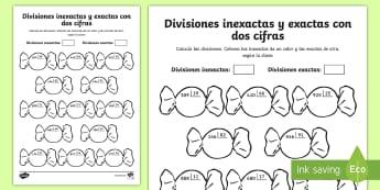 Ficha de actividad: Colorear por divisiones inexactas y exactas con dos cifras - caramelos - dividir, división, repartir, cifras, divide, division, sharing, figures, digits, escrito, escrita,