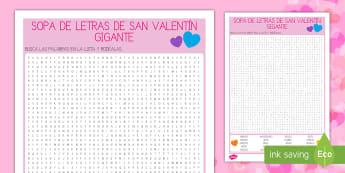 Sopa de letras gigante de San Valentín - desafío, reto, sopa de letras, vocabulario, amor, San Valentín, palabras, buscar,Spanish