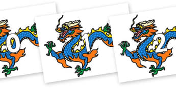 Numbers 0-50 on Chinese Dragons - 0-50, foundation stage numeracy, Number recognition, Number flashcards, counting, number frieze, Display numbers, number posters