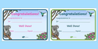 Koala Themed Certificates - koala, certificates, awards, rewards, praise