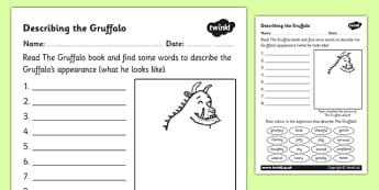 The Gruffalo Description Sheet - the gruffalo, description, sheet