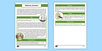 The First Fleet Convict Children Information Sheet - australia, The First Fleet, convict children, children, convicts, jobs, behaviour, clothing, chores, information sheet, information