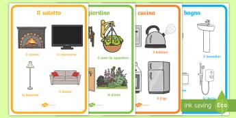 Gli Oggetti delle Stanze della Casa Poster - casa, nomi, vocaboli, poster, oggetti, stanze, camere, italiano, italian, materiale, scolastico