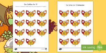 Die Zahlen bis 10 Herbstblätter Arbeitsblatt - Rechnen, Addieren, Addition, Herbst, herbstlich,