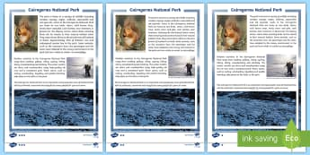 Cairngorms National Park Differentiated Fact File - CfE, Scotland, Scottish, landscape, physical features, geography, mountains, highlands, people, plac