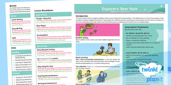 Explorers: Bear Hunt Y1 Overview To Support Teaching on 'We're Going on a Bear Hunt' by Michael Rosen' - Repeating parts, animals, Helen Oxenbury, Jill murphy, Julia Donaldson