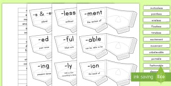 Suffix Pockets Activity  - letter strings, English, language, ed, est, ment, ion, sort,
