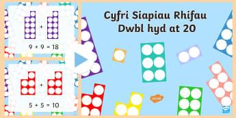 Pwerpwynt Dyblu i 20 - dyblu, dwbl, doubling, double, rhif, number, total, cyfri, count,Welsh-translation