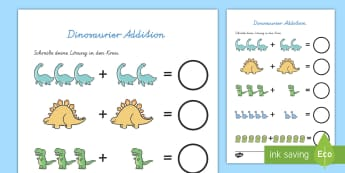 Dinosaurier Addition Arbeitsblatt - Dinosaurier, Addition, addieren, plus rechnen, erstes plus rechnen, erste Addition, +, Dinos,German