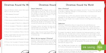 Christmas around the World Reading Comprehension Activity Sheets - Christmas, around the world, cultures, Christianity, differences, Worksheets