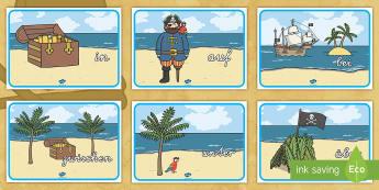 Piraten Präpositionen Poster - Pirat, Positionen, Lage, Stellung, Position, Druckschrift, Schreibschrift, ,German