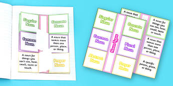 Types of Noun Flapbook Template - Types of noun, flapbook, nouns, flap book
