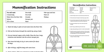 Egyptians Mummification Instructions Reference Sheet - ancient egypt, egyptian traditions, mummification, how to make a mummy, mummification instructions, ks2 history