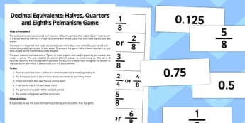 Year 6 Decimal Equivalents Halves Quarters and and Eighths Pelmanism Game - maths, numeracy, ks2, uks2, matching, memory game, activity, starter