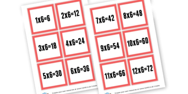 6 Times tables Cards - Times Tables Primary Resources, multiply, times, number of, games, Times, Table, Tabe
