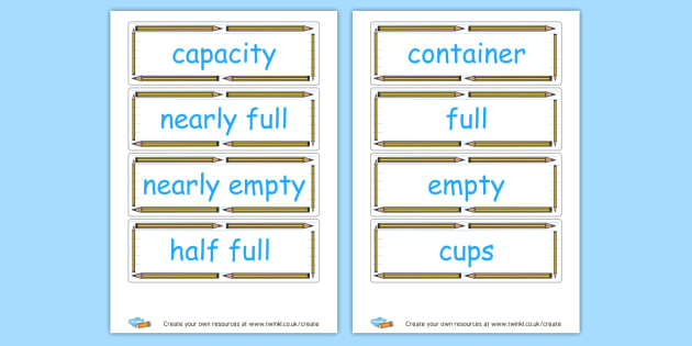Capacity Vocabulary - KS2 Length Mass and Capacity Primary Resources, Shapes, Length