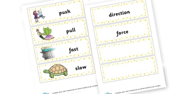 Force Word Cards - Forces & Motion Primary Resources, force, gravity, push, pull