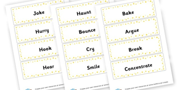Verbs Flash Cards - Verb Primary Resources, verbs, noun, adjective, wow, keywords