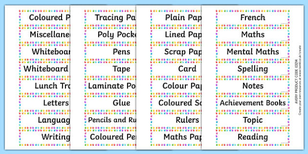 Equipment and Jotter Tray Labels - Drawer & Peg Name Labels Primary Resources, Name Label, Label, Peg
