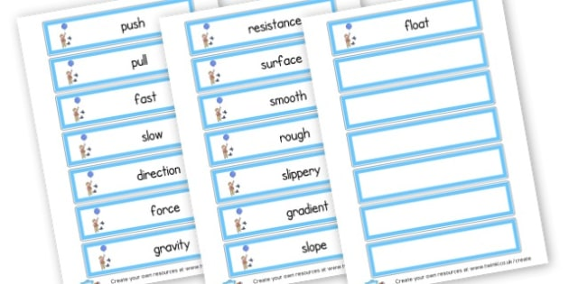 Forces Word Cards - KS2 Science, Forces and Motion, Resources,  Forces, Motion,  KS2