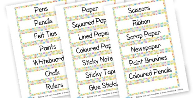 Equipment Labels (Art) - Art and Design Primary Resources, primary, colour, creative