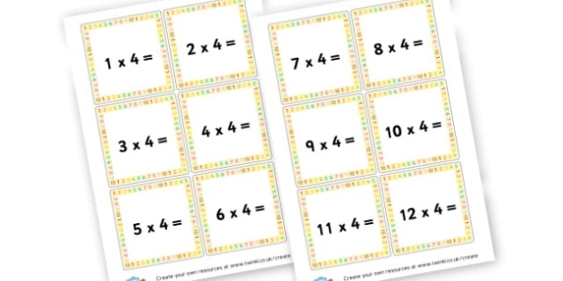 4 Times Table Cards - Calculations Times Tables Primary Resources - KS2 Calculations Primary, Times, Tabe, Table, times table, times tables