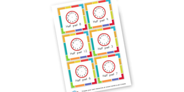 Half Past Times Cards - KS2 Time Worksheets Primary Resources, Time Worksheets, Clock, KS2