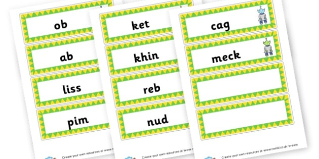 Phase 2 Nonsense Word Cards - DFE Letters and Sounds Phonics Screening Check Primary Resources