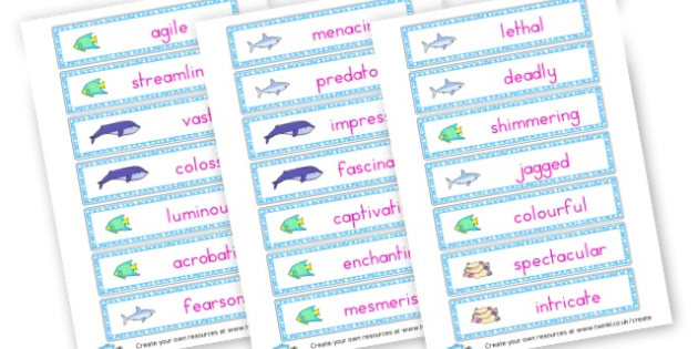 Deep Down Under Adjective Word Cards - Adjectives Primary Resources, cll, wow, keywords, describing words
