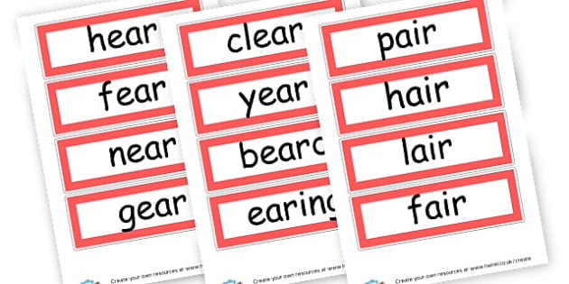 trigraph ear air ure - display lettering - Phase 3 Visual Aids Primary Resources, Phase One, Letters, sounds
