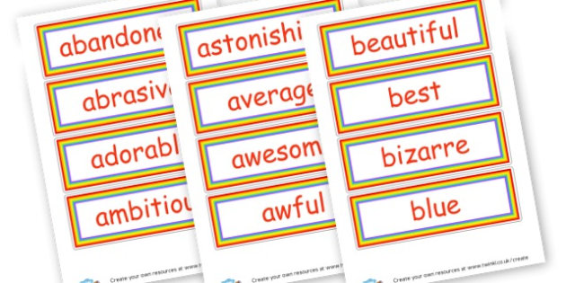 Wow Words Cards - Wow Words & Adjectives Primary Resources, cll, wow, keywords