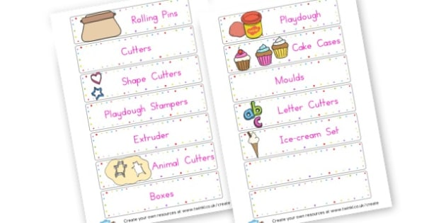 Playdough Labels - Creative Area Primary Resources, sign, area, zones, banner, poster