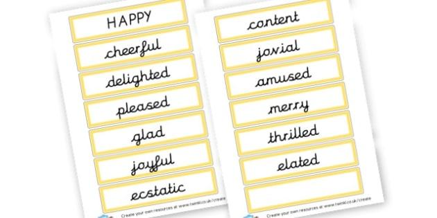 Alternative Words For Happy - Grammar Activity Primary Resources, grammar aids, activities