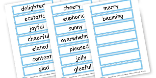 Happy Synonym Word Cards - Synonyms & Antonyms Primary Resources, similar words
