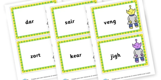 Phase 3 Nonsense Words Large Cards - DFE Letters and Sounds Phonics Screening Check Primary Resources