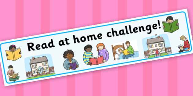 Read at home challenge banner with border - display lettering - General Display Primary Resources, Display, Banners, Posters