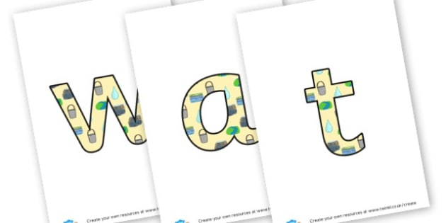 water lettering - display lettering - Water Area Primary Resources, signs, area, zones, banner, poster
