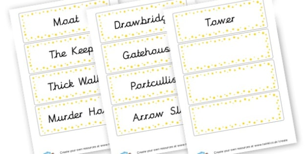 Castle Vocabulary Cards - Castles & Knights Keywords Primary Resources, signs, labels, role