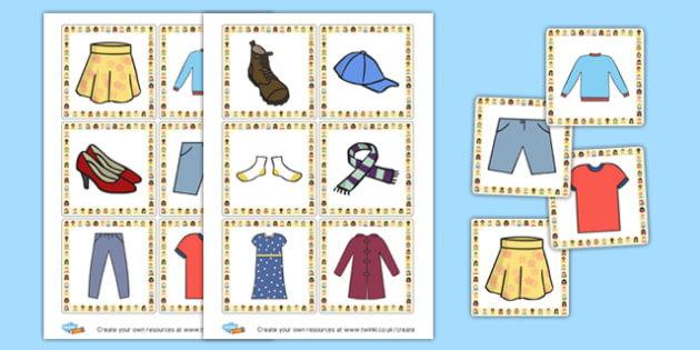 Clothes Cards - Clothes Activities Primary Resources, clothes, shoes, colouring,