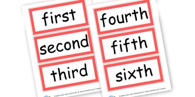 Ordinals-red - Ordinal Numbers Primary Resources, ordering, numeracy, activities