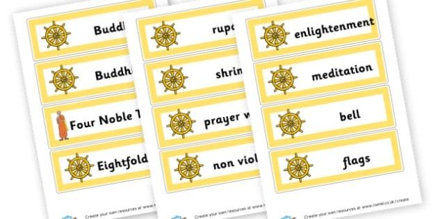 Buddhism Vocab Cards - Buddhism, Literacy,  Primary Resources, religion, faith, buddhist