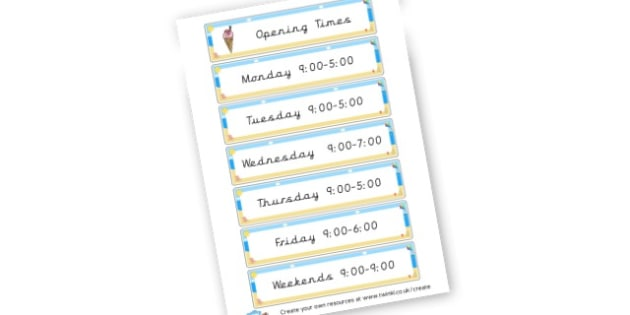 Ice cream Kiosk Role Play Opening Times - Ice Cream Parlour Primary Resources, shop, parlour, ice cream shop