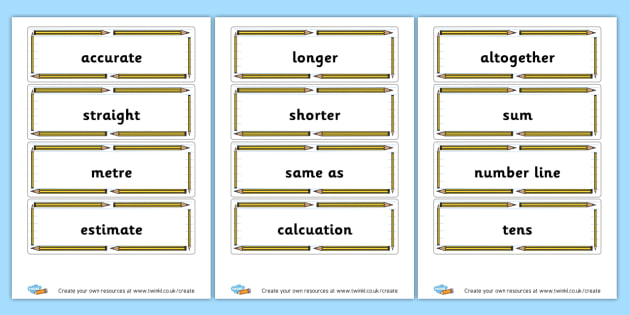 Length words Cards - KS2 Length, Mass and Capacity Display Primary Resources, Display