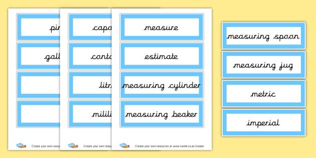Capacity Vocabulary