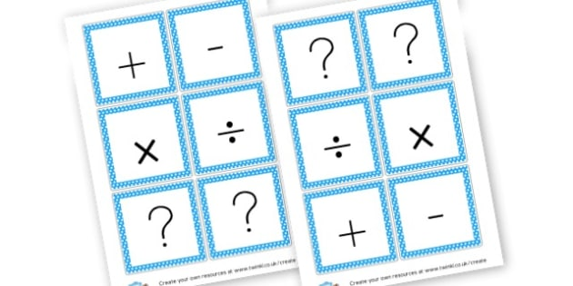Maths Symbols Cards - Maths Aids, resource, Education, Home School, Math Games, number