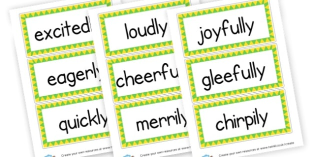 Adverbs Display Labels - KS2 Verbs and Adverbs Primary Resources, Verbs, Adverbs, KS2 Words