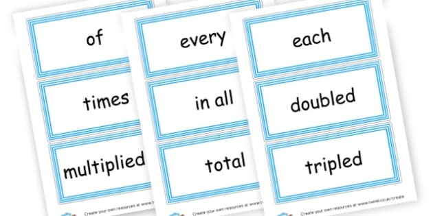Multiplication Vocab Cards - Multiplication Primary Resources, times, number of, activity, game