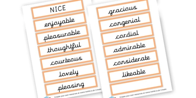 Alternative Words For Nice - Grammar Activity Primary Resources, grammar aids, activities