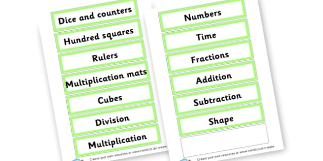 Maths Resource Labels - Maths Area Primary Resources, maths is fun, signs, labels, areas